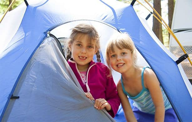 2 girls in blue tent at 390