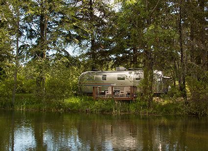 airstream trailer view from the lake