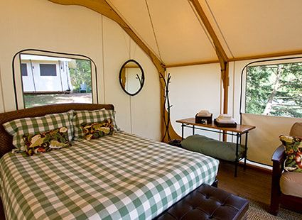luxury camping interior bed detail