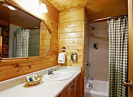 cabin master bathroom