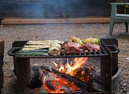 grilling at the Neva Lake glampground