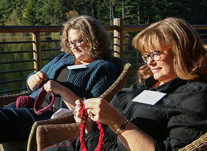 kitting on the deck at Lakedale Resort