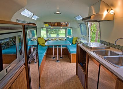 airstream trailer modern kitchen view