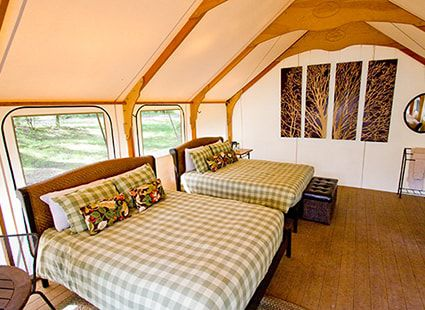 luxury camping bunkhouse interior