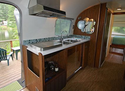 luxury airstream rental kitchen view