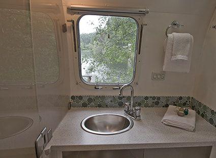 modern bathroom in airstream rental