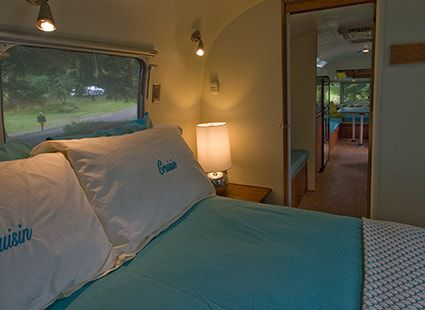queen bed in airstream camper rental