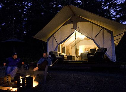 luxury glamping at night