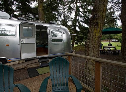luxury aerostream rv deck exterior