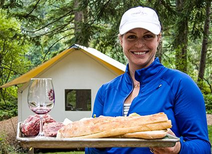 bread and wine at our luxury campground