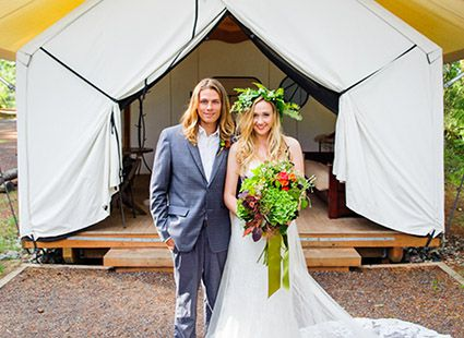 wedding at Lakedale's glampground