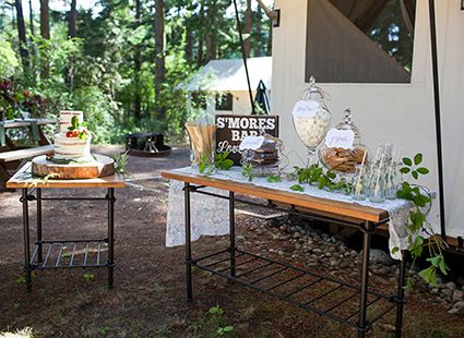 smores table at wedding reception