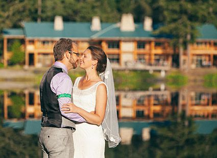 wedding in front of Lakedale Resort