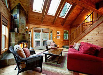 lake house living room interior detail