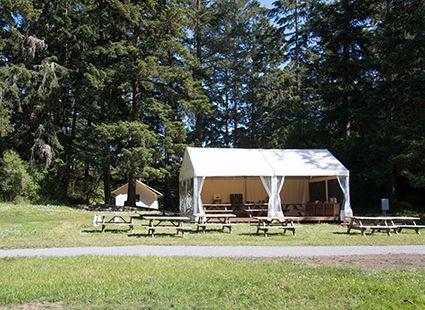 picnic tales outside Neva lake mess hall