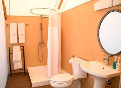 luxury camping canvas cottage bathroom