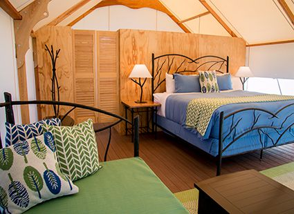 bed and pullout, canvas cottage interior