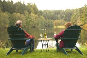 Man and woman sitting by the lake drinking wine