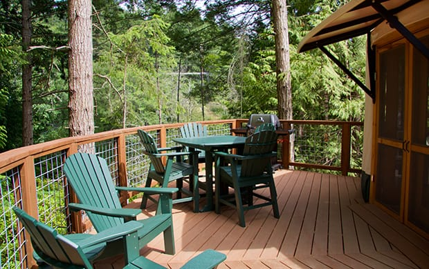 exterior deck with chairs and table at 620