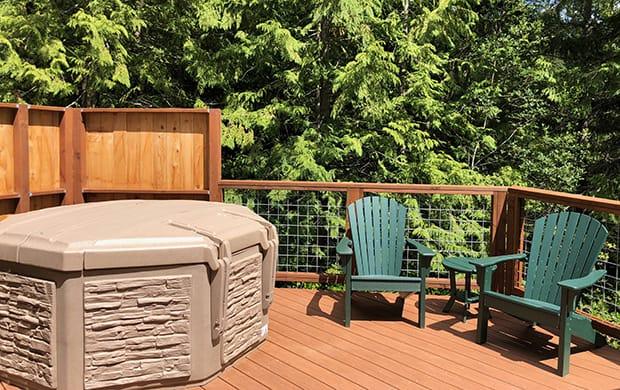 exterior hot tub with 2 adirondacks at 620