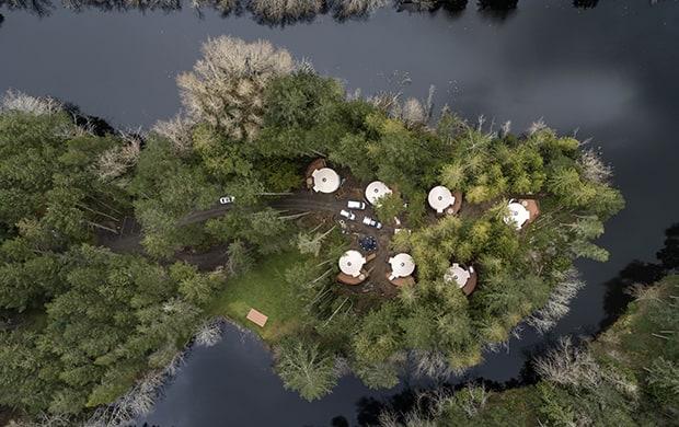 Yurt village aerial shot at 620
