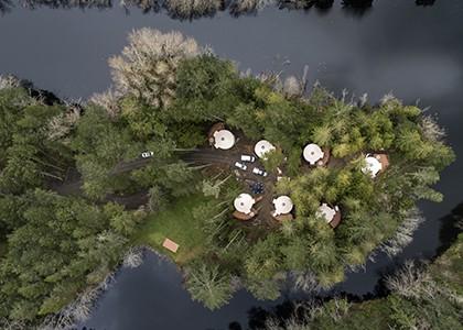 Yurt village aerial shot copy