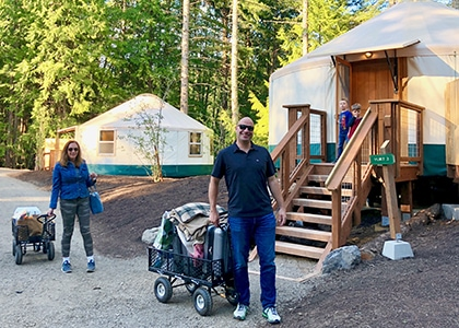 first guests arriving at yurts_2 at 420