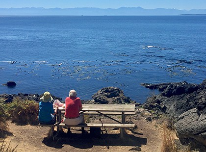 older couple at Lime Kiln State Park whale watching
