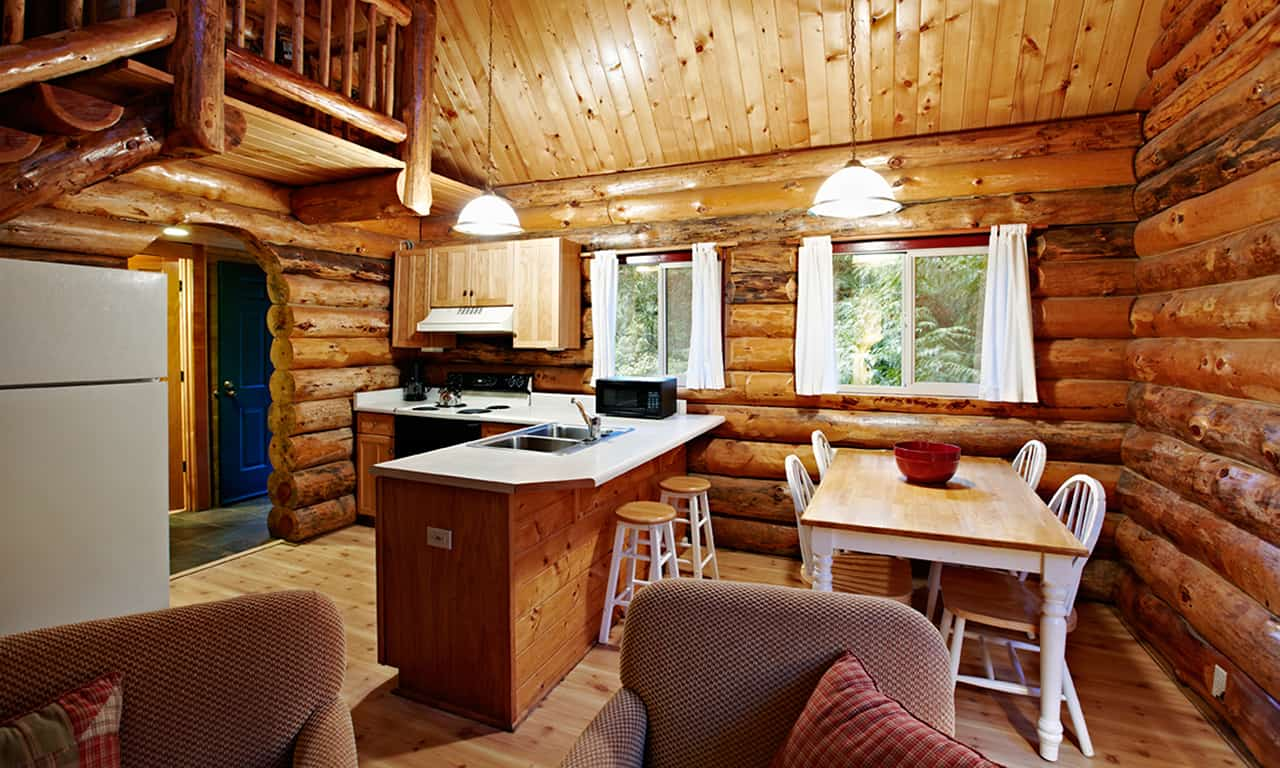 1280 Log Cabin kitchen