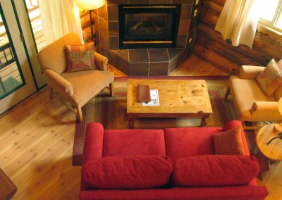 1280 Log Cabin living room from above