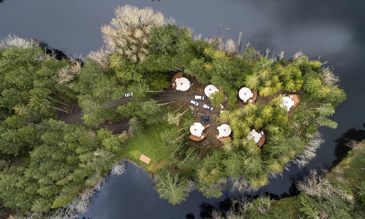 1280 Yurt village aerial shot