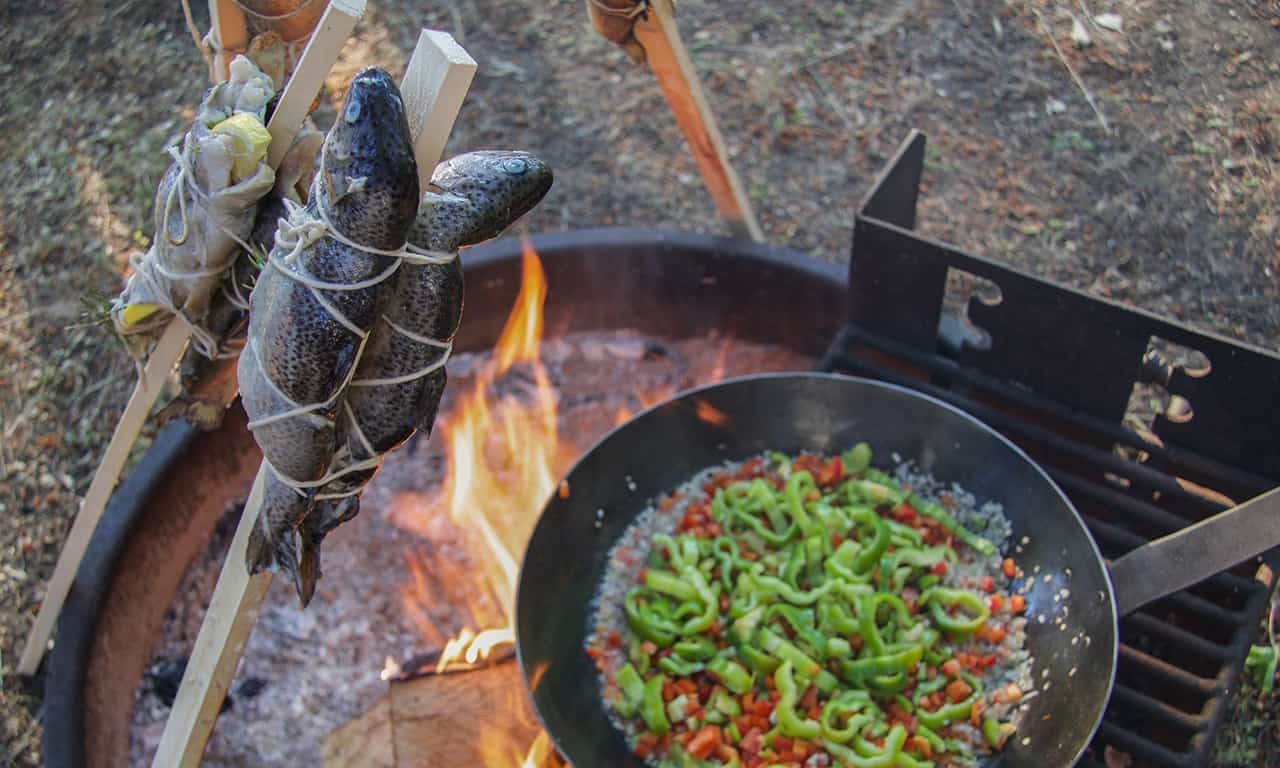 1280 fish and veg over campfire