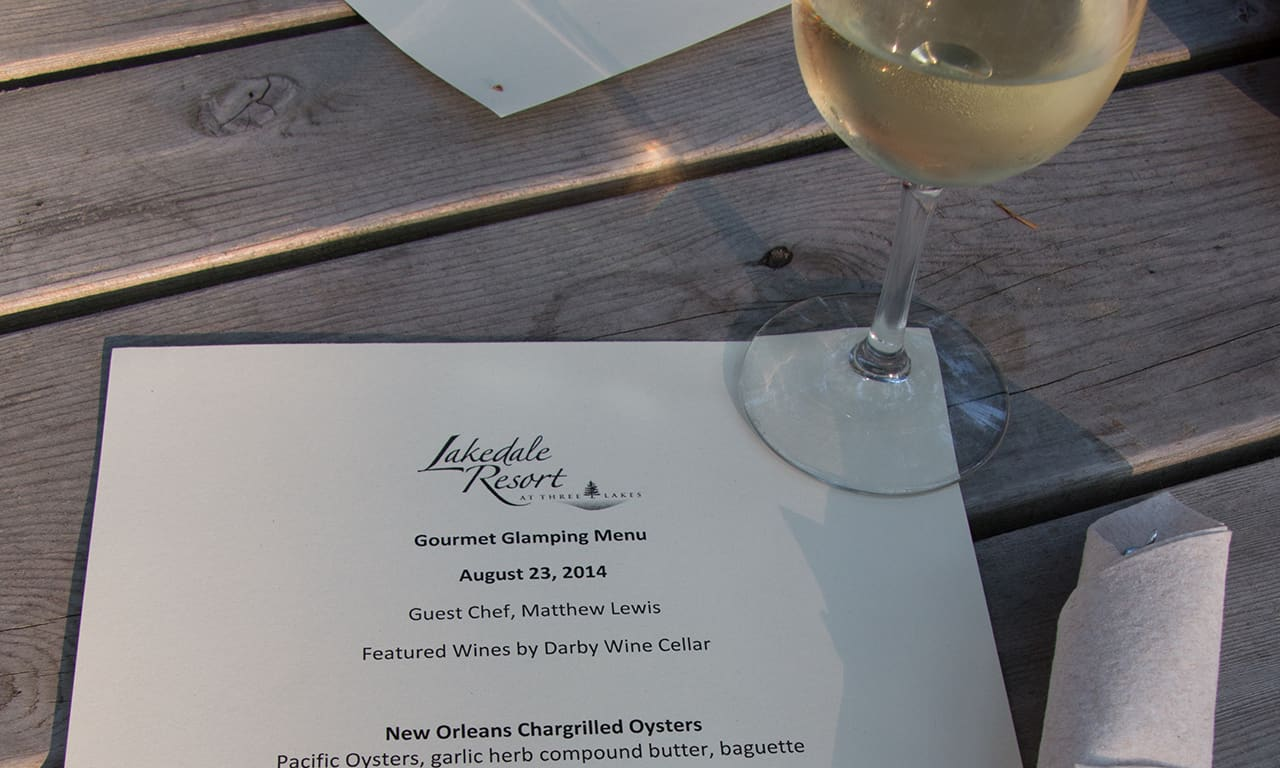 1280 menu and wine at Gourmet Glamping