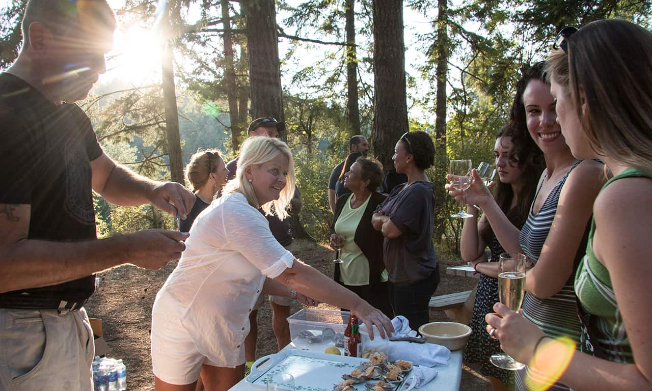 1280 people eating oysters at Gourmet Glamping