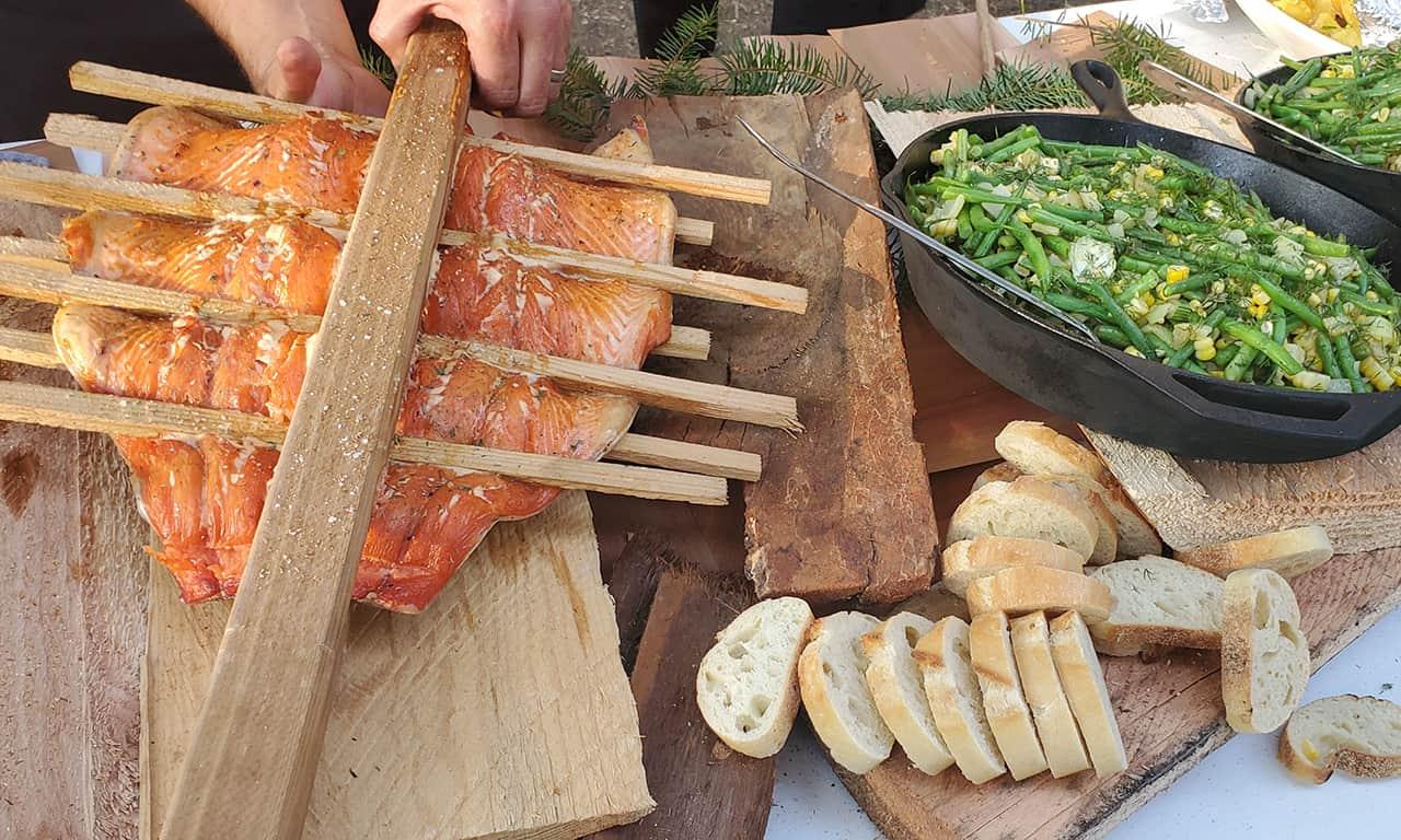 1280 salmon and veg at Gourmet Glamping