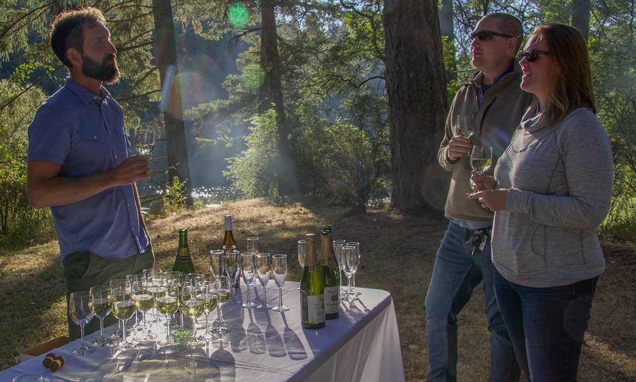 1280 vintner with wine and guests
