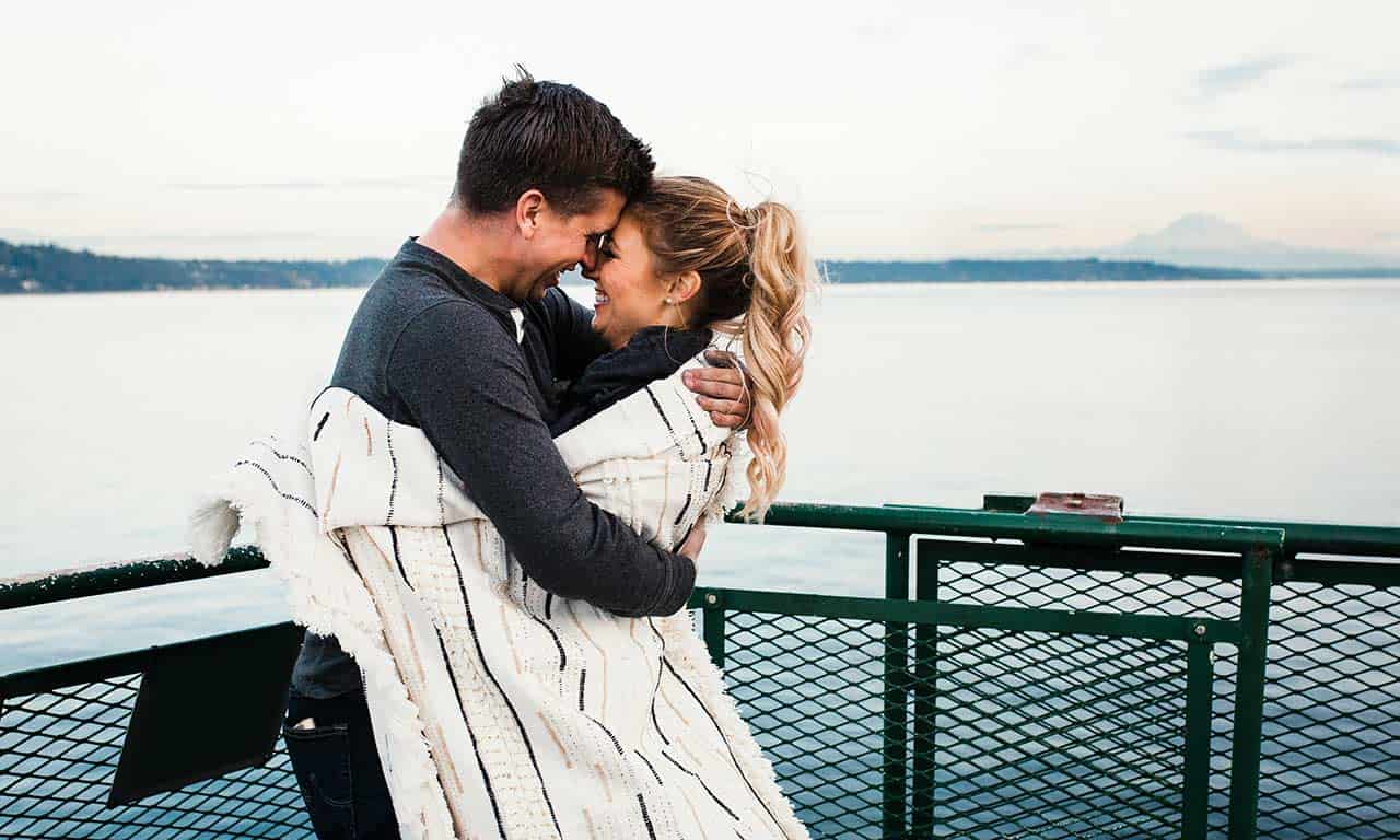 couple on ferry to San Juan Islands