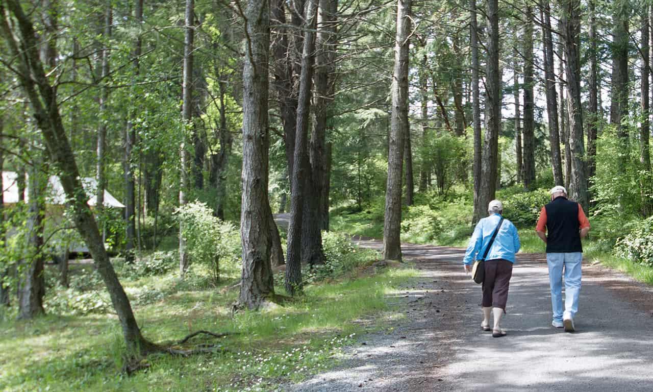 Older couple walking in woods
