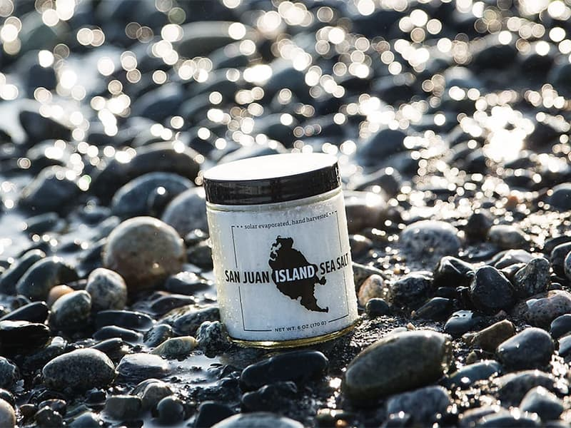jar of sea salt on rocks on San Juan Island