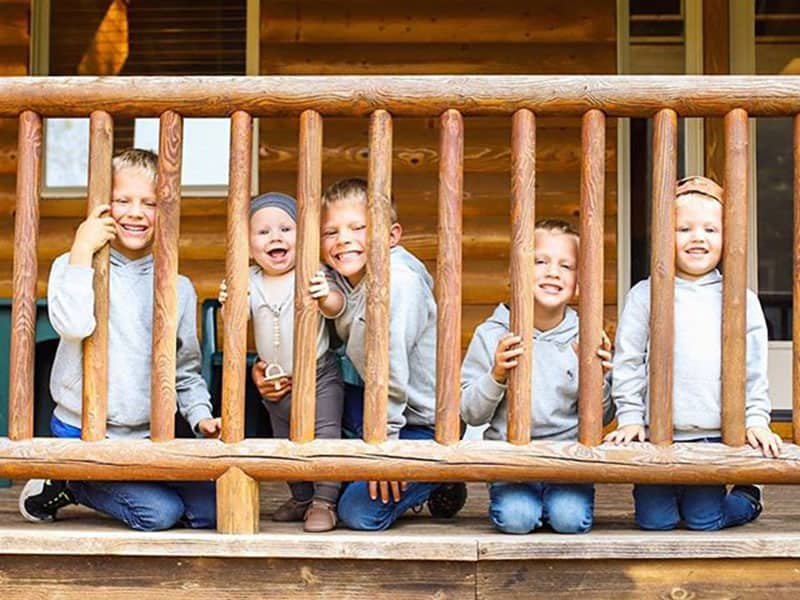 five boys at the Lake House