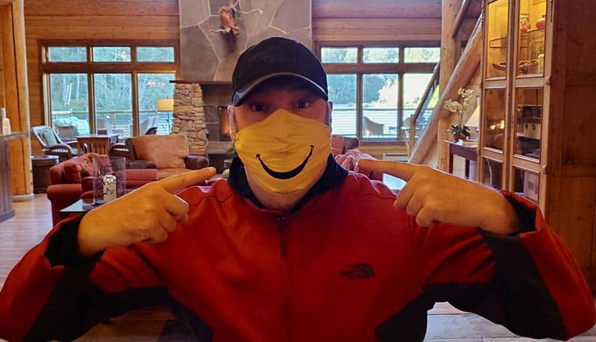Richard with smiley mask in lodge