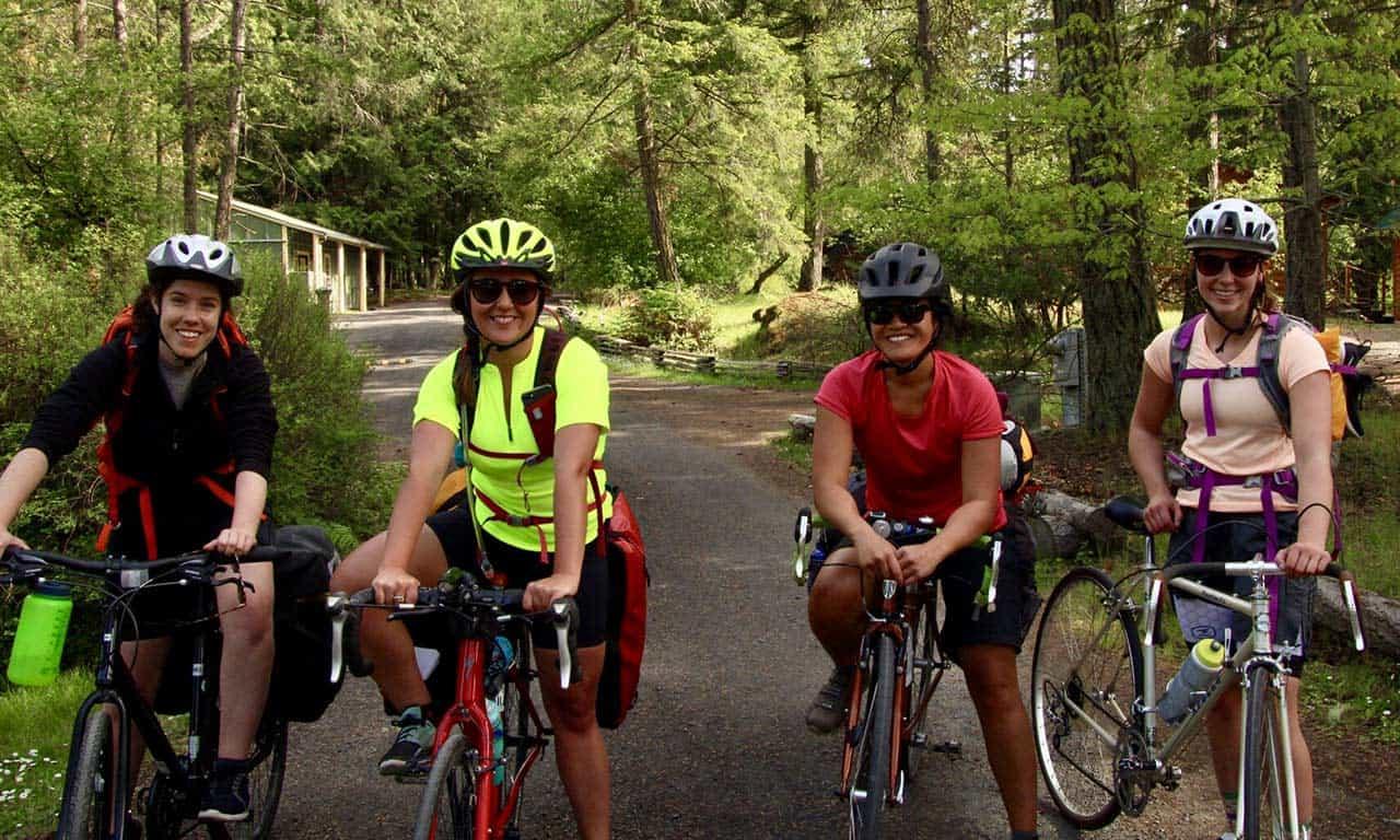 women biking at Lakedale