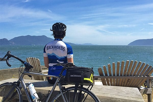 Backroads bicyclist n San Juan islands