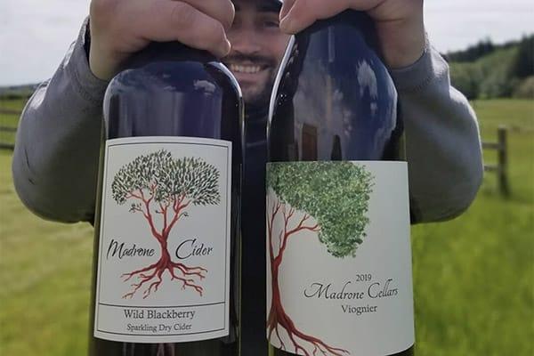 Madrone Cellars wine in vineyard on San Juan Island