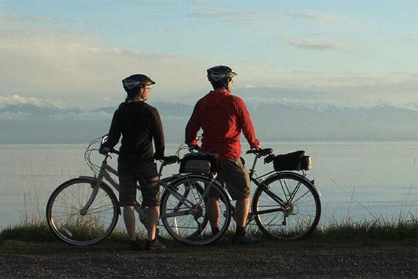 two cyclists on San Juan Island
