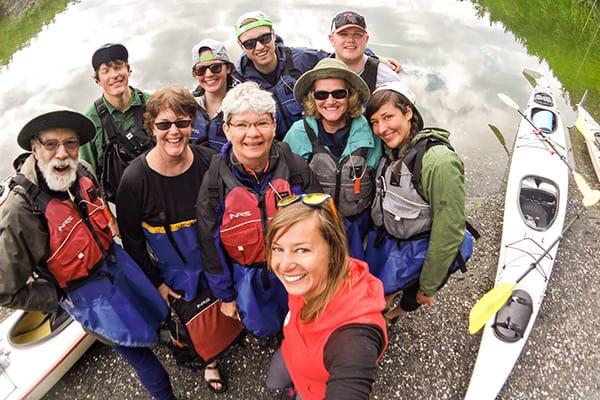 Outdoor Odysseys group of kayakers on San Juan Island