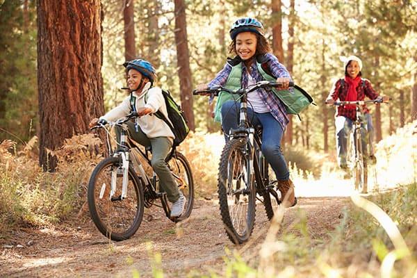 family mountain biking on San Juan Island