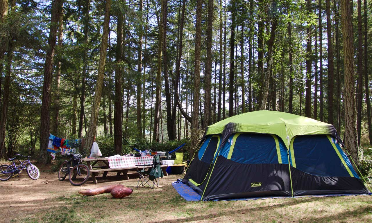 green-tent-camping-at-Lakedale