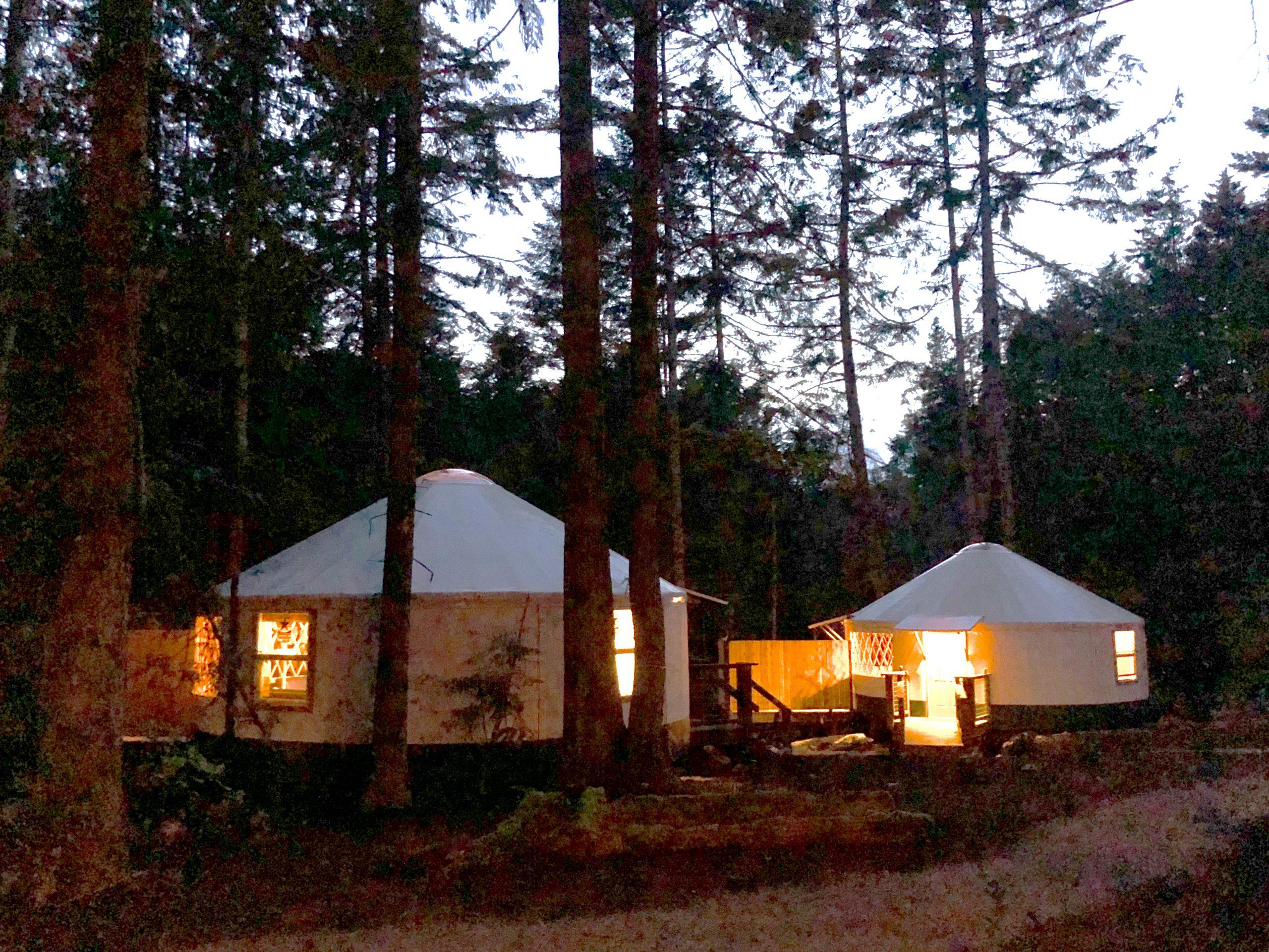 yurts at night at Lakedale