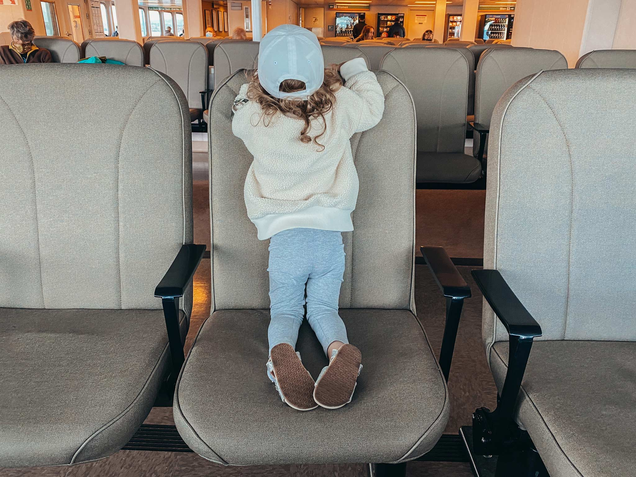 young girl on ferry in San Juan Islands